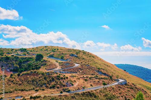 Fotografie, Obraz  Landscape and road in Segesta in Sicily