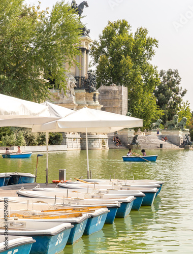Madrid, Spain. September 7, 2017: View of Buen Retiro park, lake and boats, Madrid, Spain