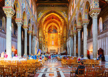 People In Monreale Cathedral Sicily