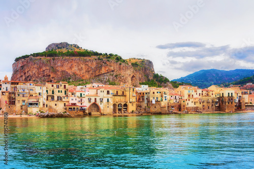 Cityscape of Cefalu old town and Mediterranean Sea Sicily