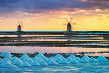 Sunset At Windmills In Salt Ev...