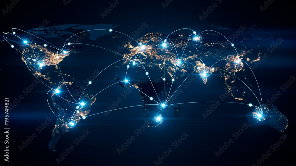 Fototapety, obrazy: Global business concept of connections and information transfer in the world 3d illustration