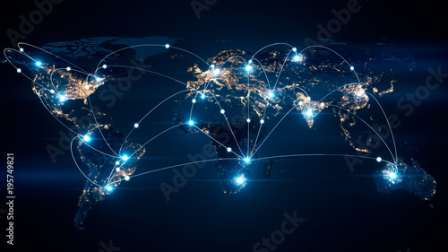 Fotografía  Global business concept of connections and information transfer in the world 3d