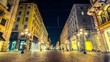 Time lapse of people in Milan shopping street of via Dante in Milan , Italy . It is an elegant street in central Milan, Italy , known for theatres, shops, restaurants.