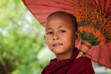 Face Of Myanmar Monk With Umbrella
