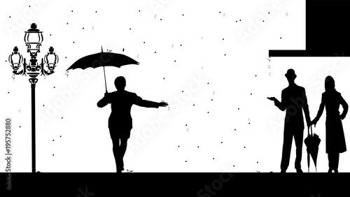 Photo sous la pluie ombres chinoises
