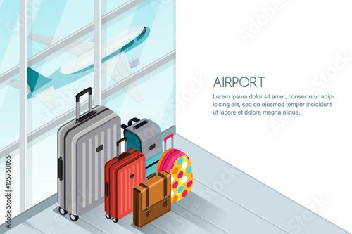 Fototapeta Luggage, suitcase, bags near the airport terminal window