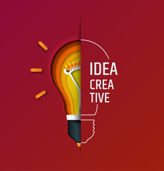 Kreatywny pomysł, wynalazek, inspiracja, innowacja, rozwiązanie. Lampa do cięcia papieru. Koncepcyjna ilustracja. Transparent. Karta.