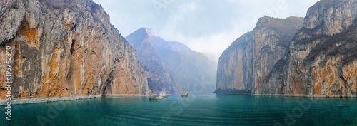 Obraz Two barges with sand and gravel in the river Yangtze - fototapety do salonu