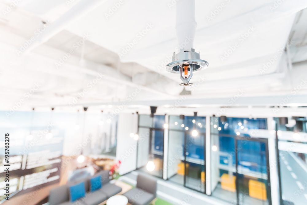 Fototapety, obrazy: Fire Sprinkler in office building blur background., focus at selective