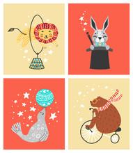 Vector Illustration Of Circus Animal. Cute Cartoon Characters