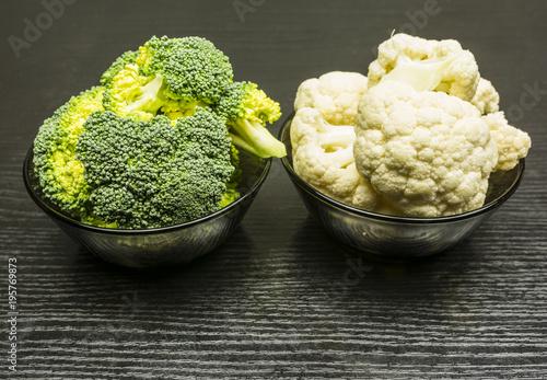 Fotografie, Obraz  Fresh broccoli and cauliflower in a bowl.