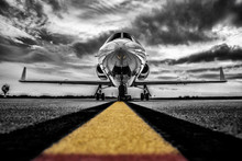 Colour Key, High Contrast Black And White Photo Of A Parked Business-Jet Waiting For Passengers.