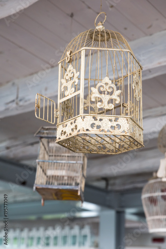 Fotografia  Empty birdcage with the door open