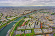 aerial view of Paris city and Seine river from Eiffel Tower