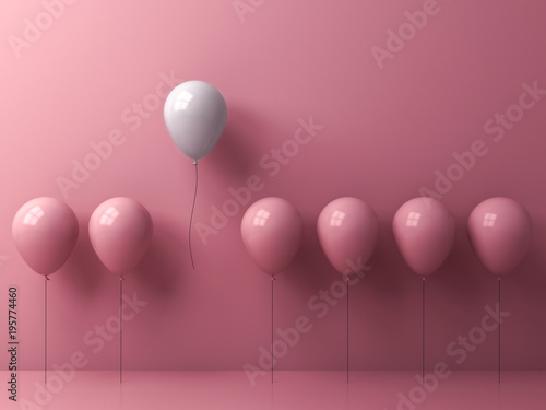 Obraz Stand out from the crowd and different concept , One freedom white balloon flying away from other pink balloons on pink pastel color wall background with window reflection and shadows . 3D rendering. - fototapety do salonu