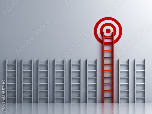 Long red ladder to goal target . 3D rendering. Canvas Print