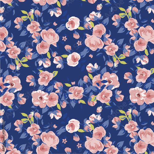 Fototapety, obrazy: beautiful watercolor roses, bright painting inspired flower print