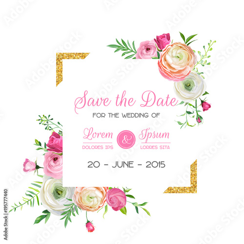 Fotografie, Obraz  Save the Date Card Template with Golden Glitter Frame and Pink Flowers
