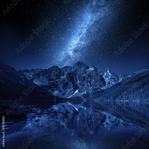 Foto auf Gartenposter Gebirge Mountains lake and milky way at night, Poland, Europe