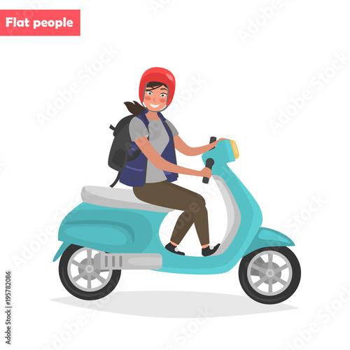 Girl on motor scooter color flat illustration