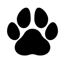 Paw Print Black Silhouette, Isolated.