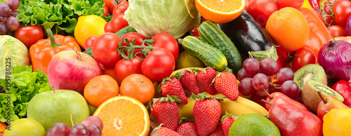 Poster Cuisine Panoramic collection healthy fruits and vegetables.