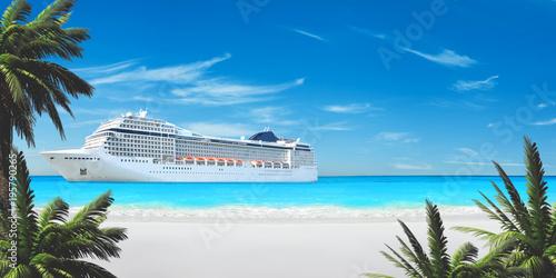 Karibik Kreuzfahrt - Weißer Strand & Palmen Fototapete