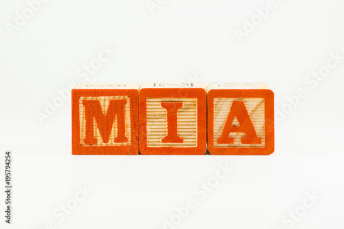 Mia - common girl's name in wooden alphabet blocks Canvas Print