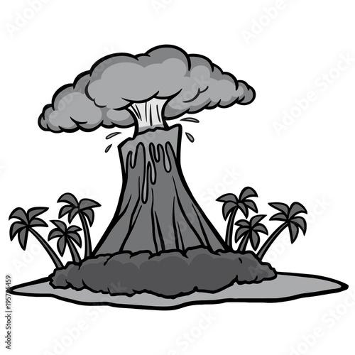 Fotografie, Obraz  Volcano Island Illustration - A vector cartoon illustration of an island with a erupting Volcano