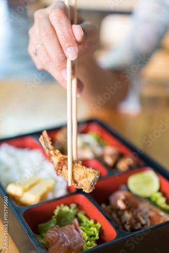 In de dag Buffet, Bar bento box with sushi and rolls