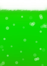 Green Beer Background For Saint Patricks Day With Bubble Foam. Cool Liquid Drink For Pub And Bar Menu Design, Banners And Flyers.  Realistic Backdrop With Green Beer For St. Patrick. Cold Ale Glass