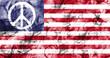 US Peace symbol smoke flag
