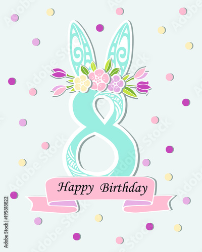vector illustration with number eight bunny ears and flower wreath