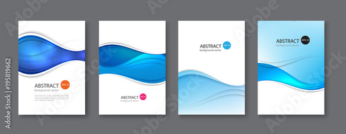 Blue line abstract set background. Vector illustration.