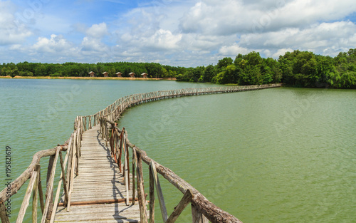 Printed kitchen splashbacks Zanzibar Wooden bridge across reservoir.