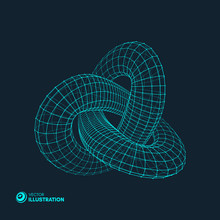 Trefoil Knot. Vector Illustration Consisting Of Points And Lines. 3D Grid Design. Molecular Grid. 3D Technology Style.