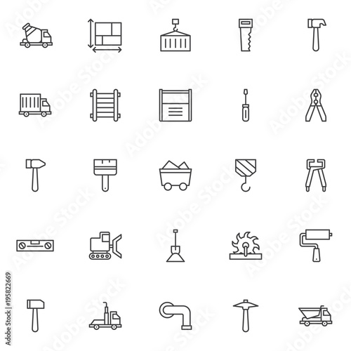 Construction outline icons set  linear style symbols