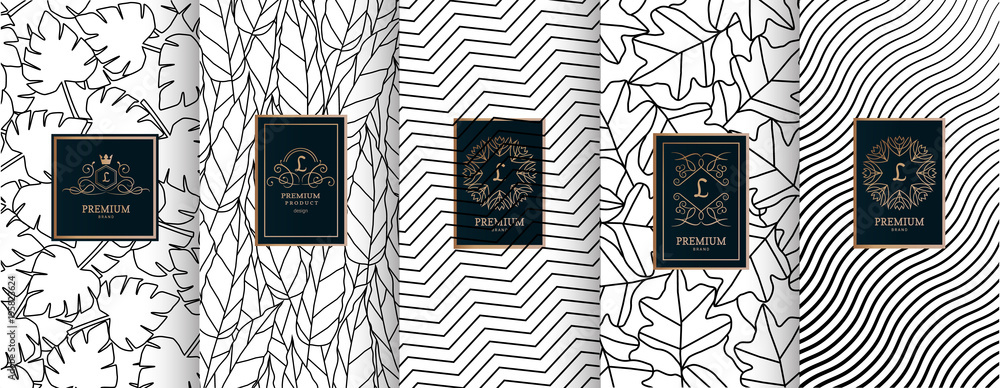 Fototapeta Collection of design elements,labels,icon,frames, for packaging,design of luxury products.for perfume,soap,wine, lotion.Made with golden foil.Isolated on geometric background.vector illustration