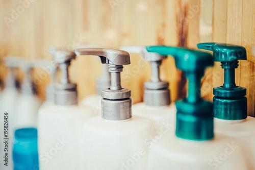 Fotografie, Obraz  Bottle of liquid soap, shower gel or shampoo. Toned image.