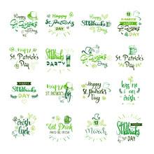 Happy Saint Patrick's Day Logotypes Set, Hand Sketch Irish Celebration Design, Lettering Typography Icons Collection Vector Illustration