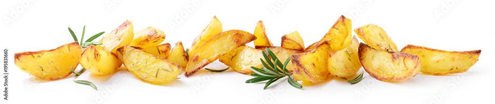 Fototapety, obrazy: Roasted potatoes on white background