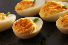 Deviled Eggs With Red Pepper O...
