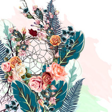 Beautiful Vector Illustration With Boho Dreamcatcher, Flowers And Palm Leafs