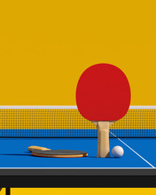 Two Table Tennis Or Ping Pong Rackets And Ball On A Table With Net 3d Illustration