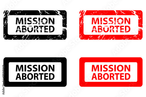 Mission aborted - rubber stamp - vector - black and red Wallpaper Mural