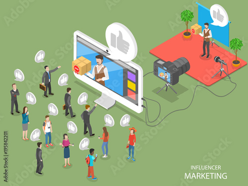 Photo  Influencer marketing flat isometric vector concept