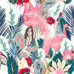 FototapetaFashion tropical vector artistic pattern with pink flamingo and tropical leafs