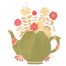 Watercolor Vintage Teapot With...