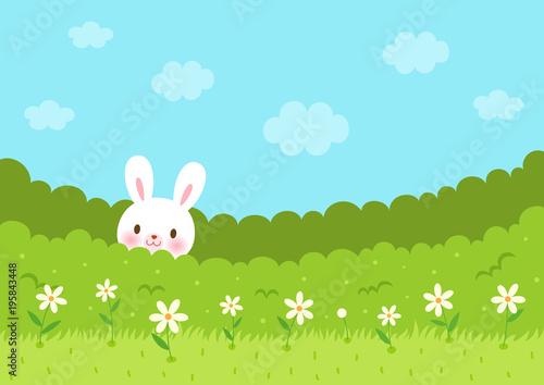 Tuinposter Lichtblauw Cute bunny in the bush